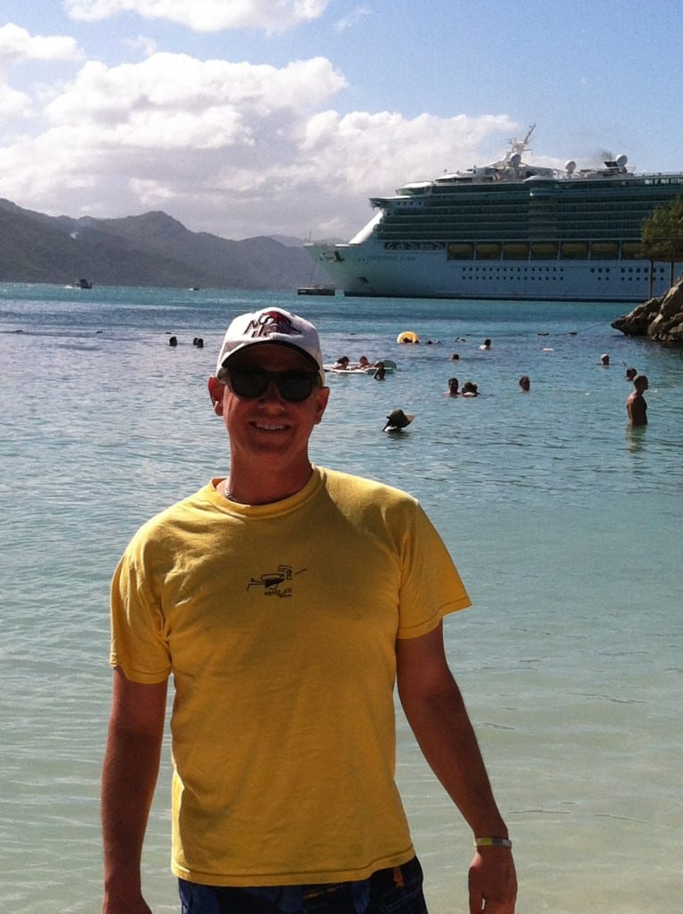 Bob with cruise ship in background
