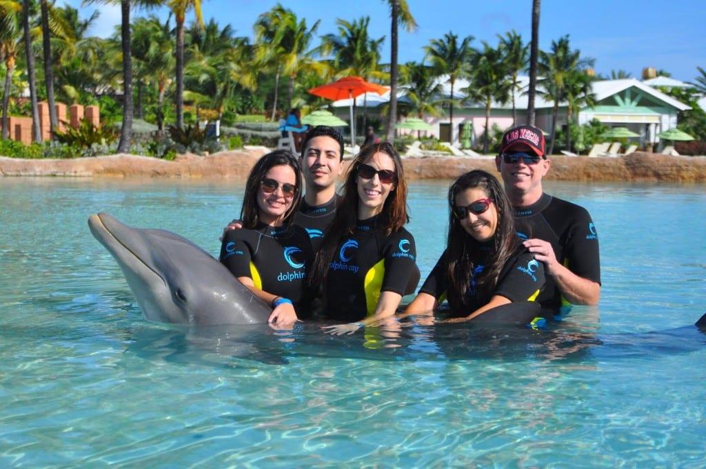 Family with Dolphin at Atlantis
