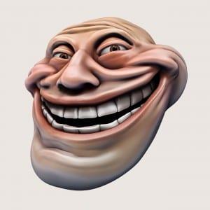 Trollface. Internet troll 3d illustration
